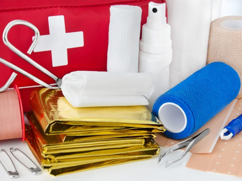 First Aid Bag Products close up